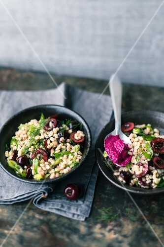 Barley salad with cherries and beetroot sauce