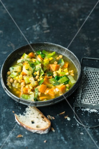 Sweet potato and leek soup with saffron and fresh Parmesan cheese