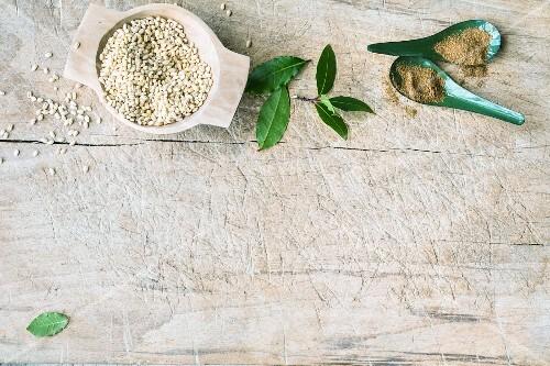 Pearl barley, bay leaves and garam masala