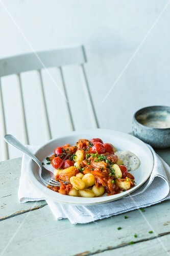 Kimchi gnocchi with miso and ginger
