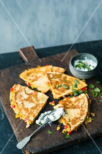 Curry and sweetcorn quesadillas with mint raita