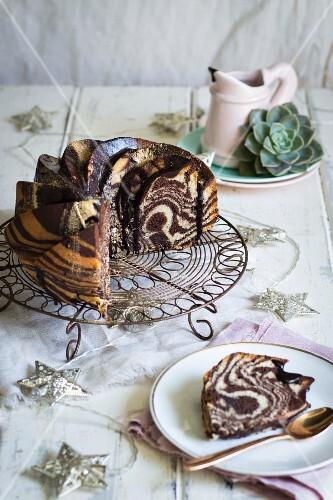Chocolate & vanilla zebra cake with Amarula ganache