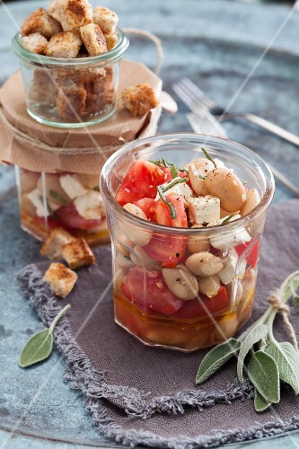White bean salad with tomatoes, feta cheese and croutons