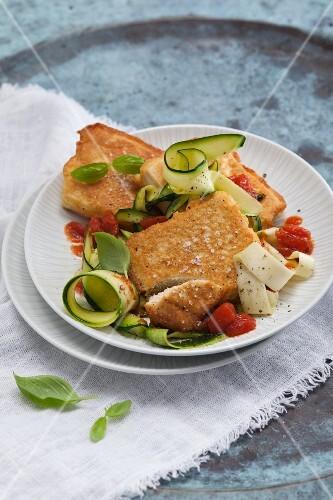 Vegetarian tofu piccata on courgette pasta