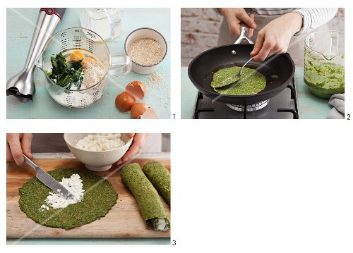 Vegetarian spinach crepes with coarse cream cheese being made
