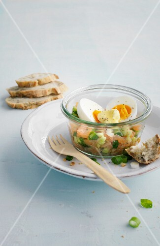 Eggs and smoked salmon and cucumber tartare