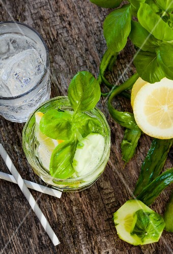 Detox drinks made with cucumber, lemon and basil