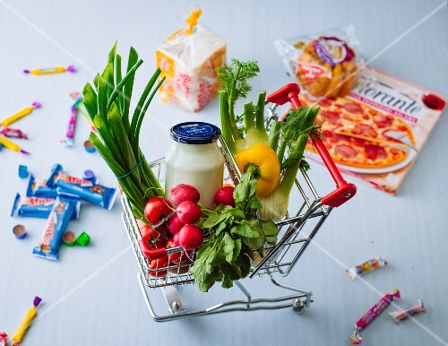 A doll's shopping trolley with mini foods