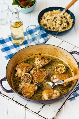 Chicken in a white wine sauce with lemon