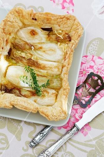 Caramelised spring onion tart