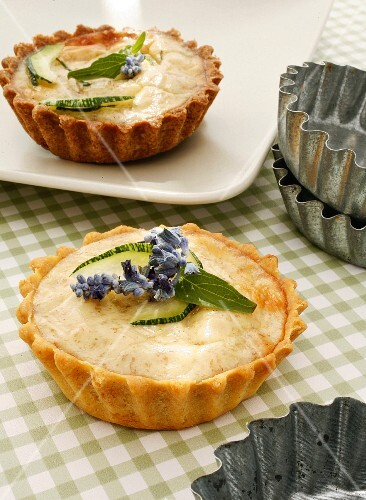 Vegetarian courgette and cheese tartlets