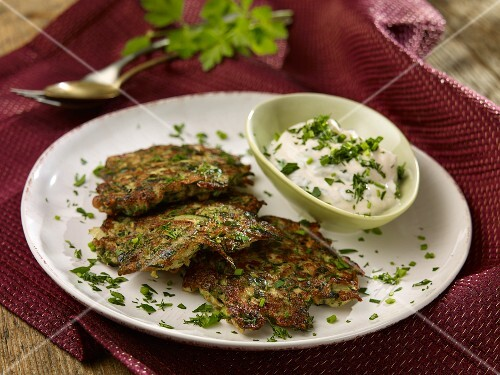 Courgette fritters with herb quark
