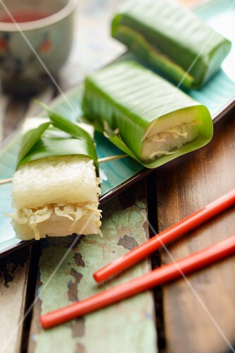 Lemper Ayam (steamed sticky rice with rousong, Indonesia) in banana leaves