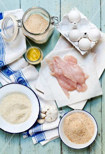 Ingredients for breaded chicken escalope