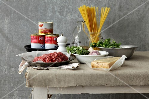 Ingredients for making meatballs or Bolognese sauce