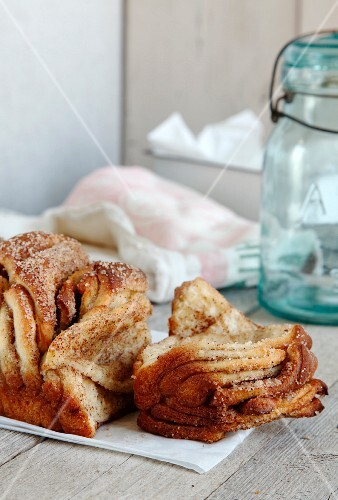Cinnamon cake on a wooden table