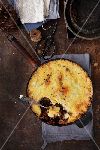 Shepherds pie in a rustic pan