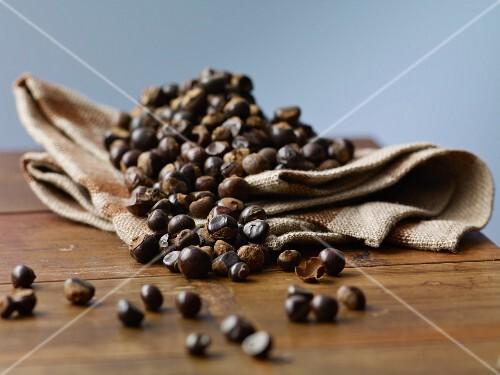 Guarana seeds on a jute sack