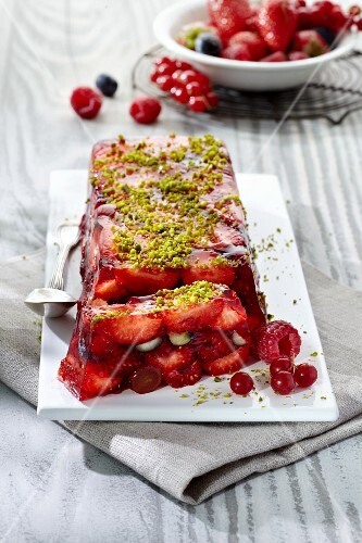 Red berry terrine with pistachios