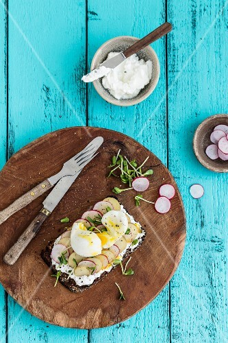 An open sandwich with cream cheese, radishes, beansprouts and a soft-boiled egg