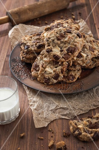 Chocolate chunk cookies on a plate