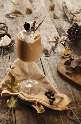 A coffee cocktail with salted caramel and cream