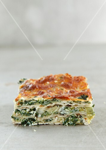 A portion of spinach lasagne