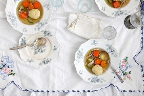 Jewish passover chicken soup with matze dumplings