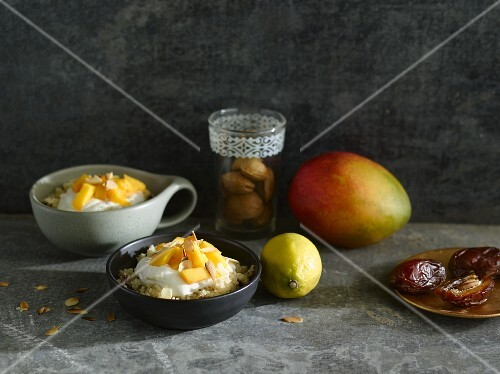 Sweet couscous with dates and mango