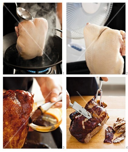 Peking duck being made