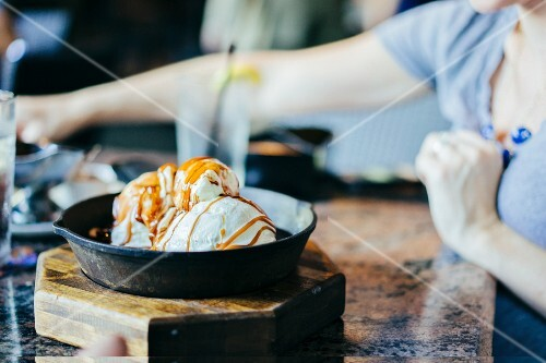 Caramel ice cream sundae