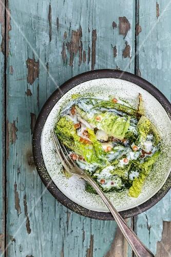 Braise savoy cabbage with yoghurt sauce and salmon caviar