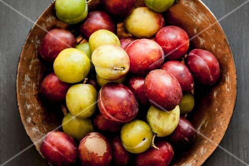 Red and yellow plums in a ceramic bowl