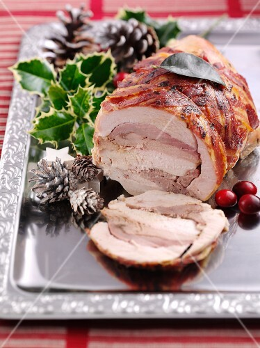 A festive Christmas roast made from six different types of poultry
