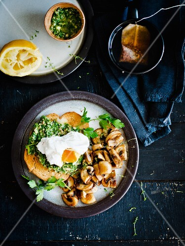 Toast with fried egg, gremolata and mushrooms