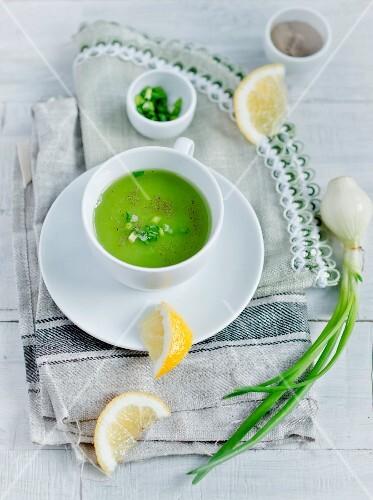 Cream of green pea soup