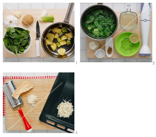 Cold watercress soup with Parmesan crisps being made