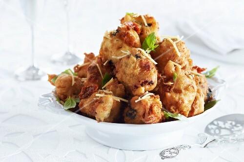 Deep-fried battered chicken