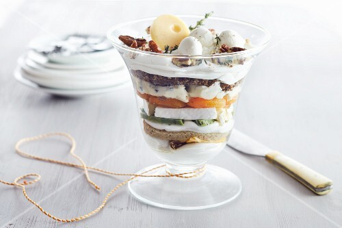 A savoury trifle with cheese and eggs