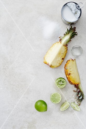 Ingredients for pina colada ice cream: pineapple, limes, coconut milk and wrong