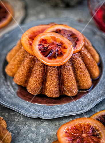 Syrup cake with candied blood oranges
