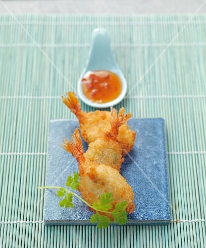 Deep fried garlic and coriander prawns with chilli sauce (Asia)