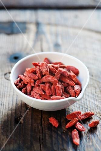 Dried goji berries in a bowl