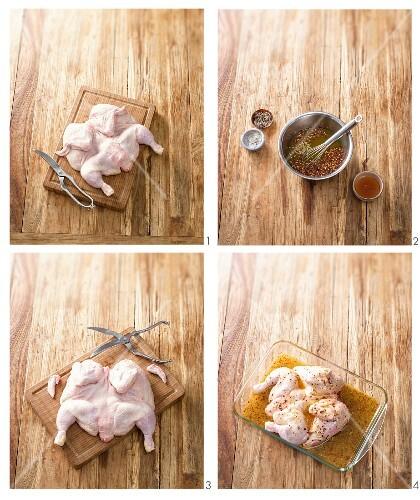 Spicy marinated chicken being prepared