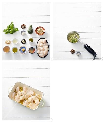Cedar wood scallops with avocado pesto being made