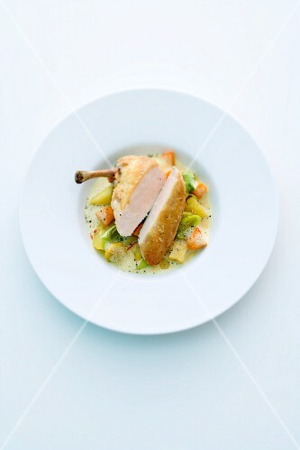 Corn-fed chicken on an autumnal vegetable curry