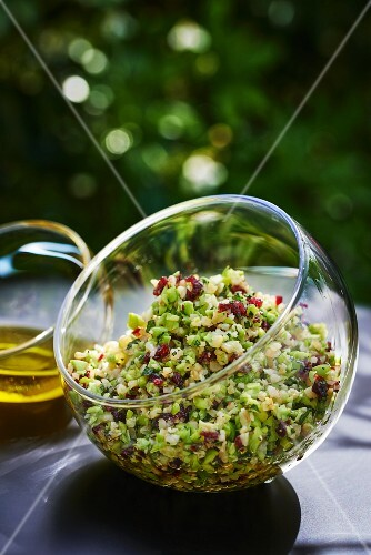 A glass bowl of tabbouleh
