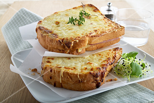 Croque Monsieur with herbs and bean sprouts
