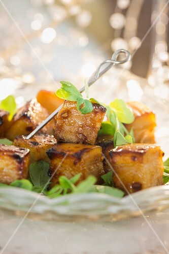 Glazed pork belly with star anise for Christmas