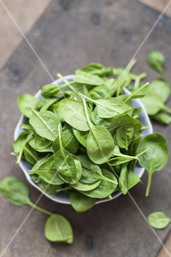 A bowl of fresh spinach